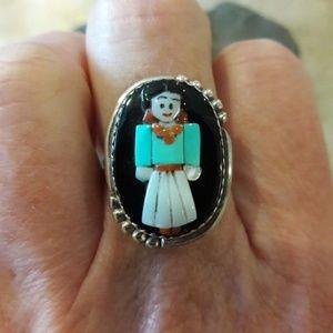 Vintage Sterling Zuni Judy Calavaza Maiden Ring